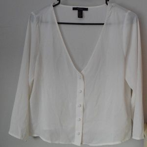 White V-Neck Button-Down Sheer Blouse